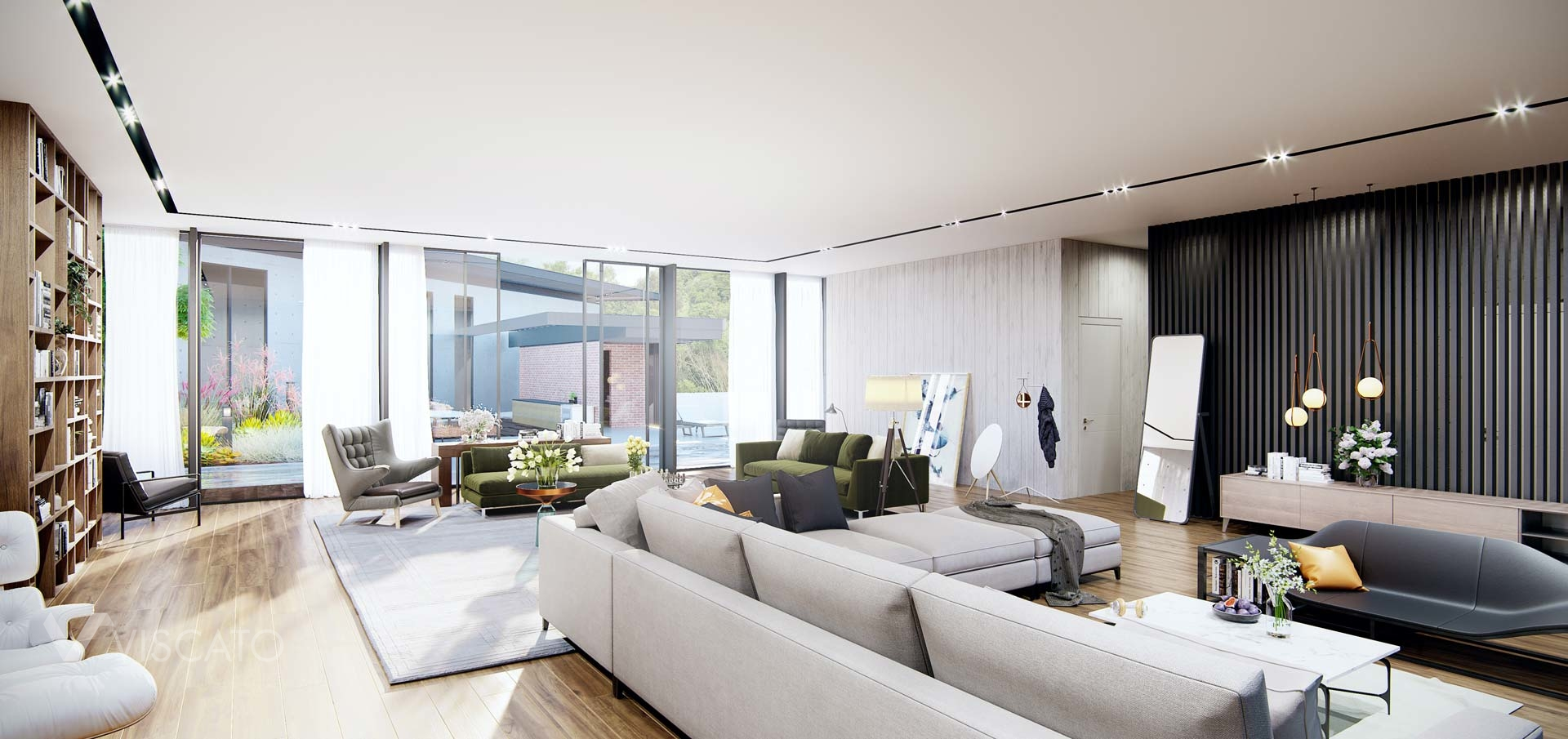spacious living room with big windows, Viscato 3D