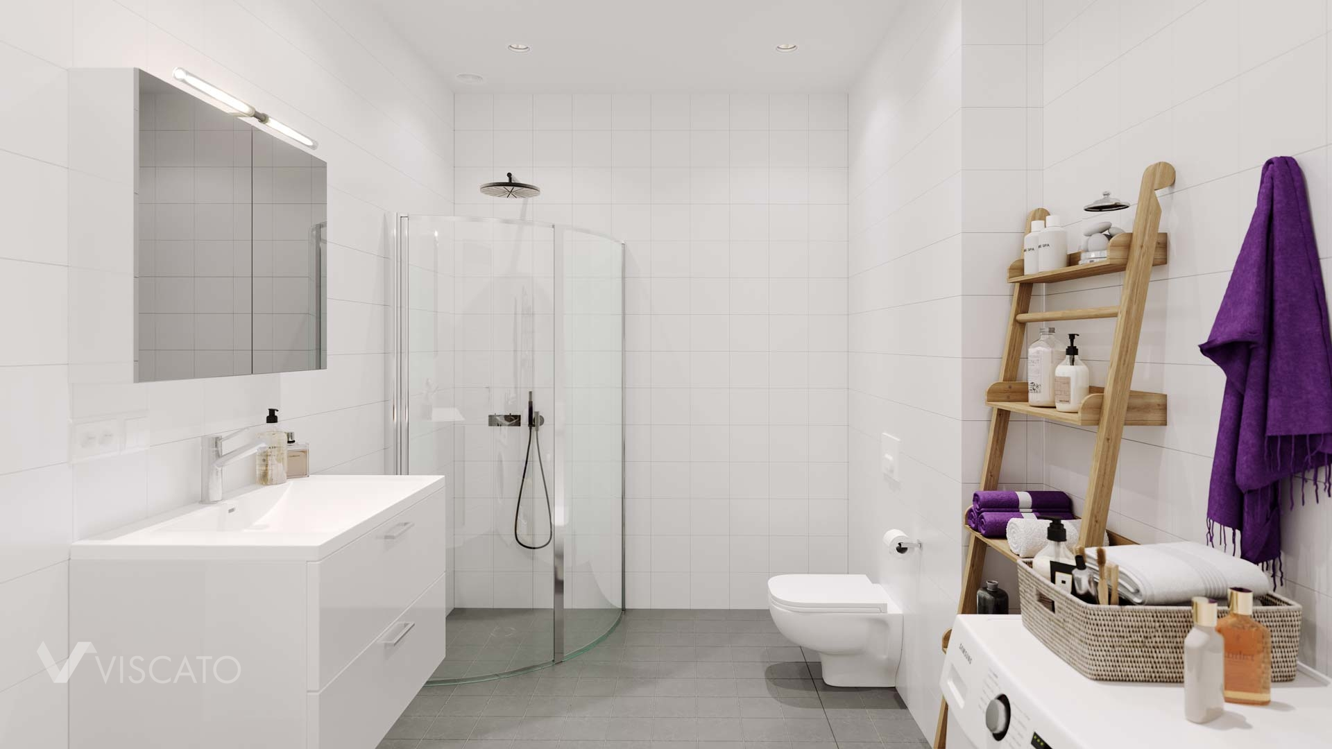 white bathroom with grey flooring, 3D interiors