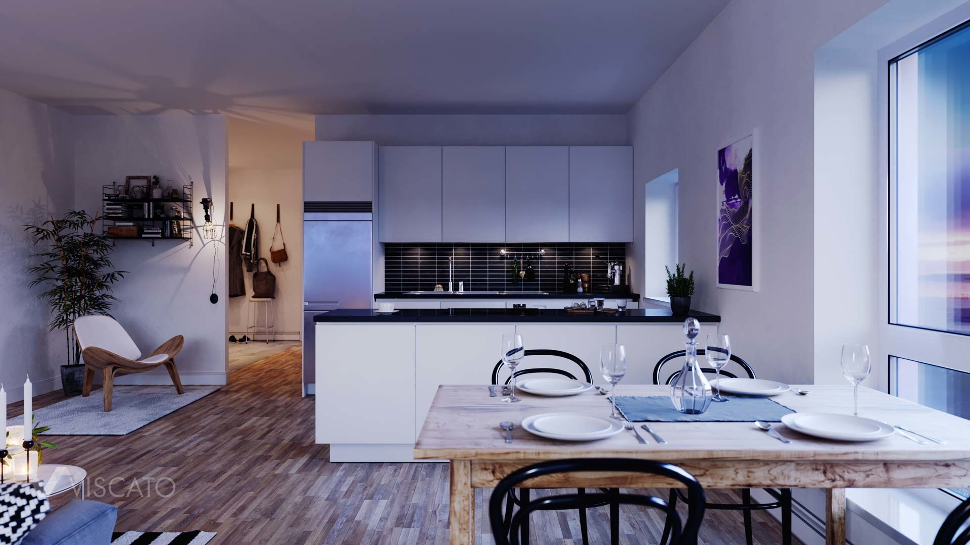 white kitchen with black working top, Viscato3D