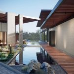 Premium housing estate with reflecting pool, Viscato 3D