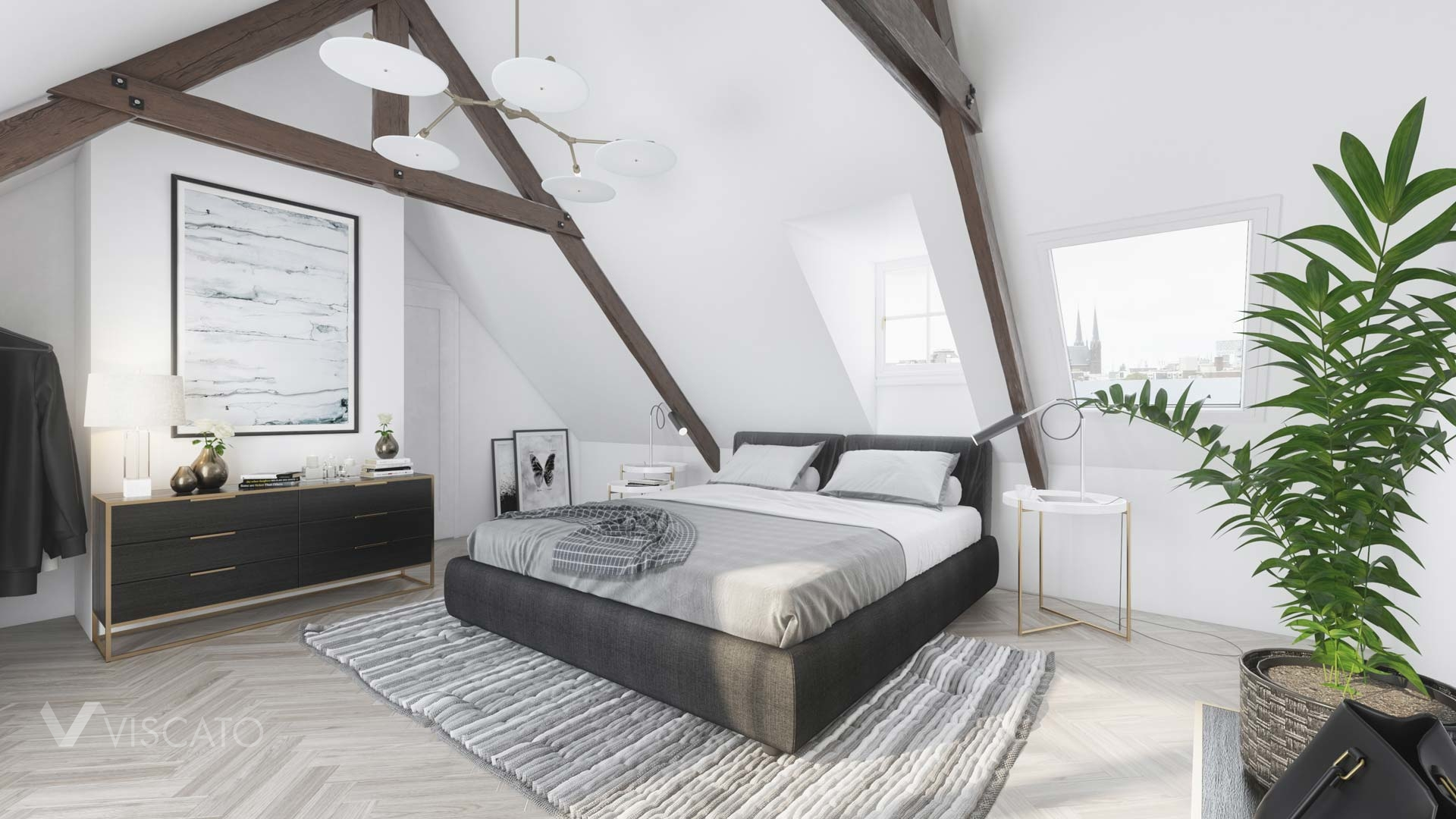 bedroom in the attic, 3D visualizations
