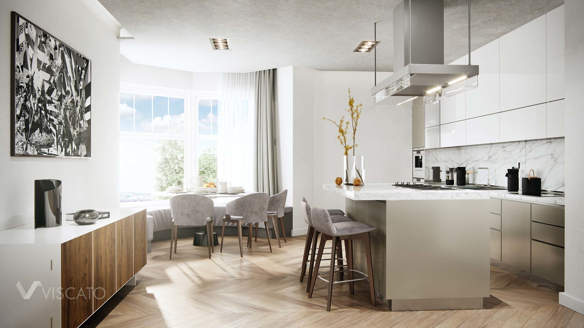 kitchen with an island and dining table, 3D Viscato