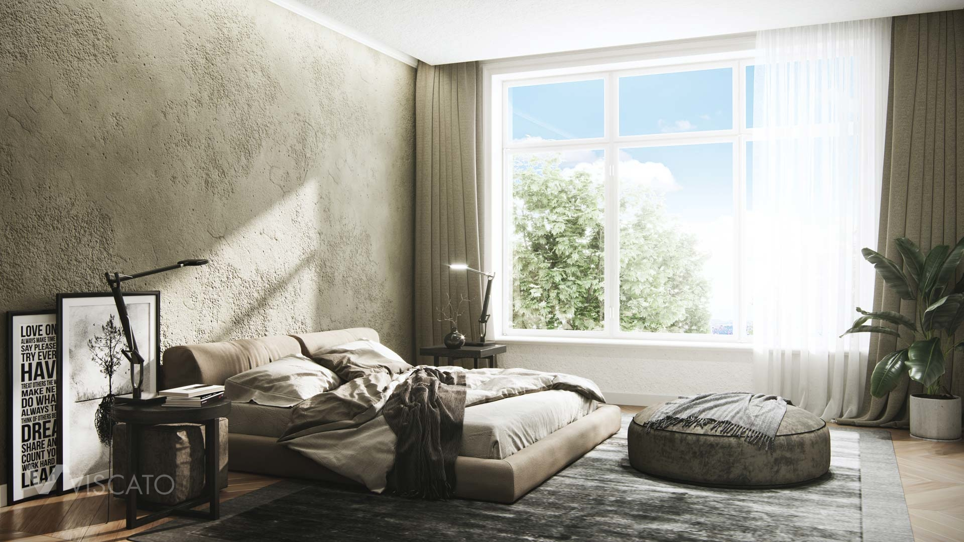 modern bedroom 3D visualization, Viscato