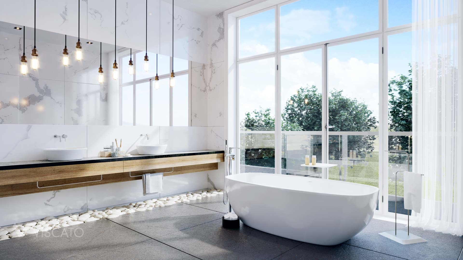bathroom with large windows, 3ds Max