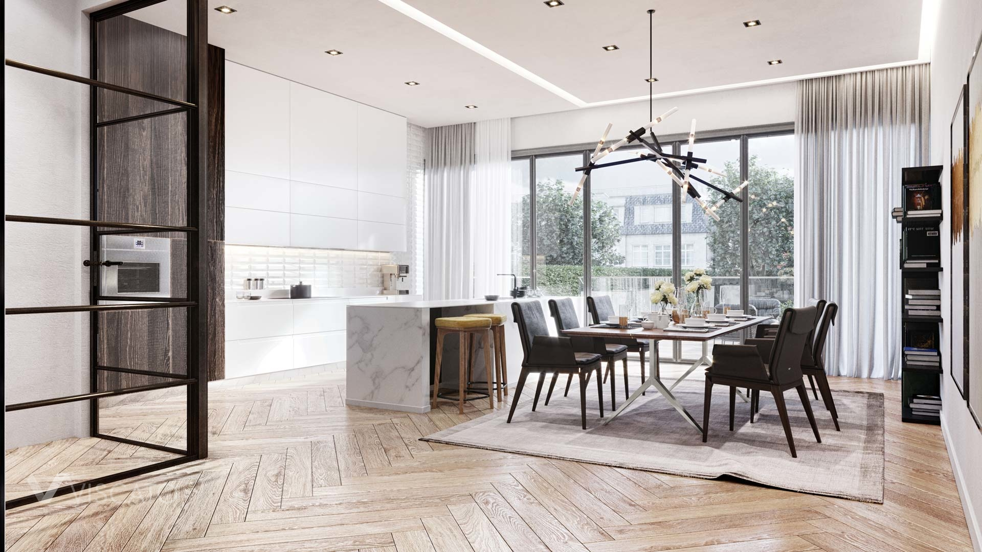 modern kitchen and dining room, 3d visualization