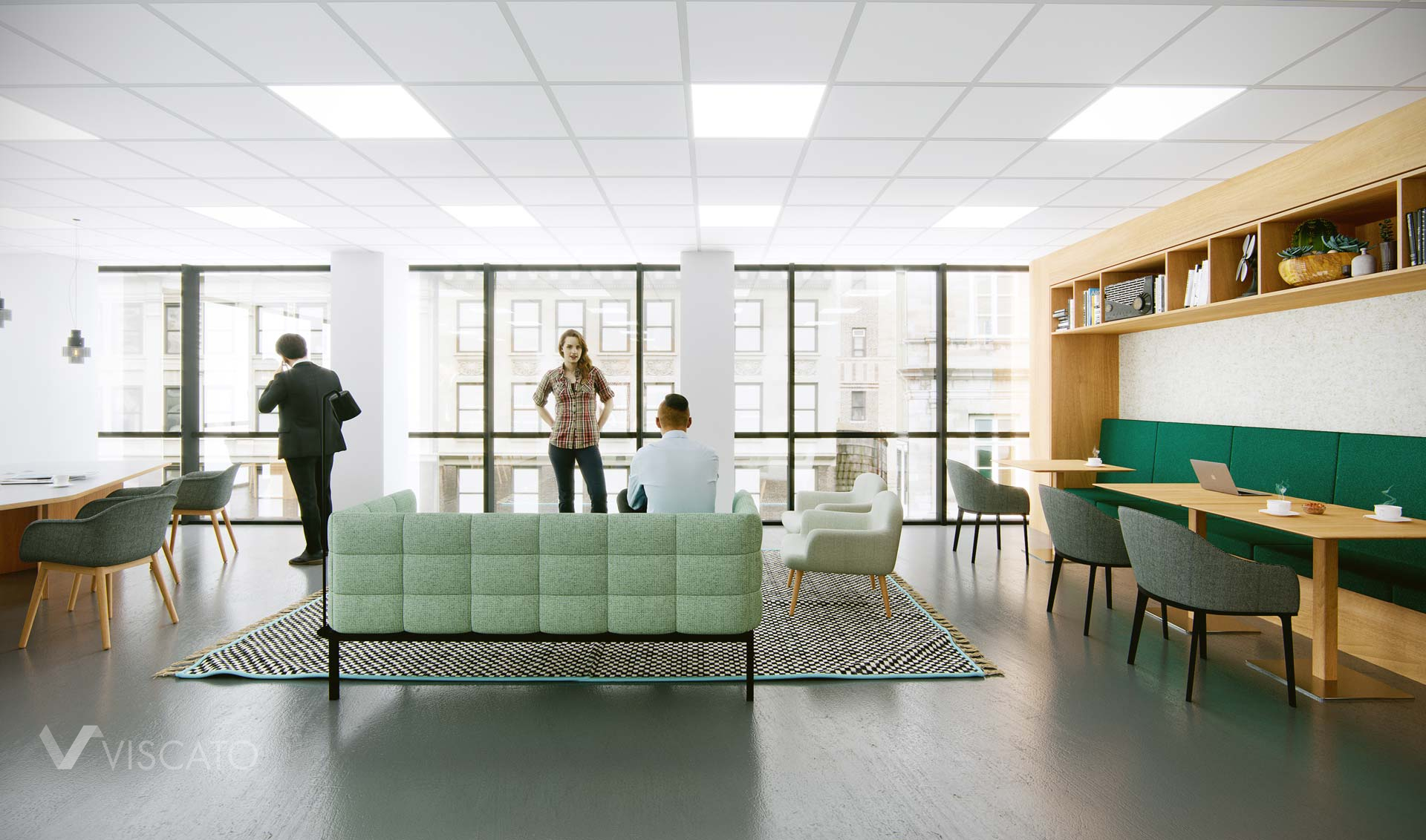 Open space area in a modern office, Viscato 3D