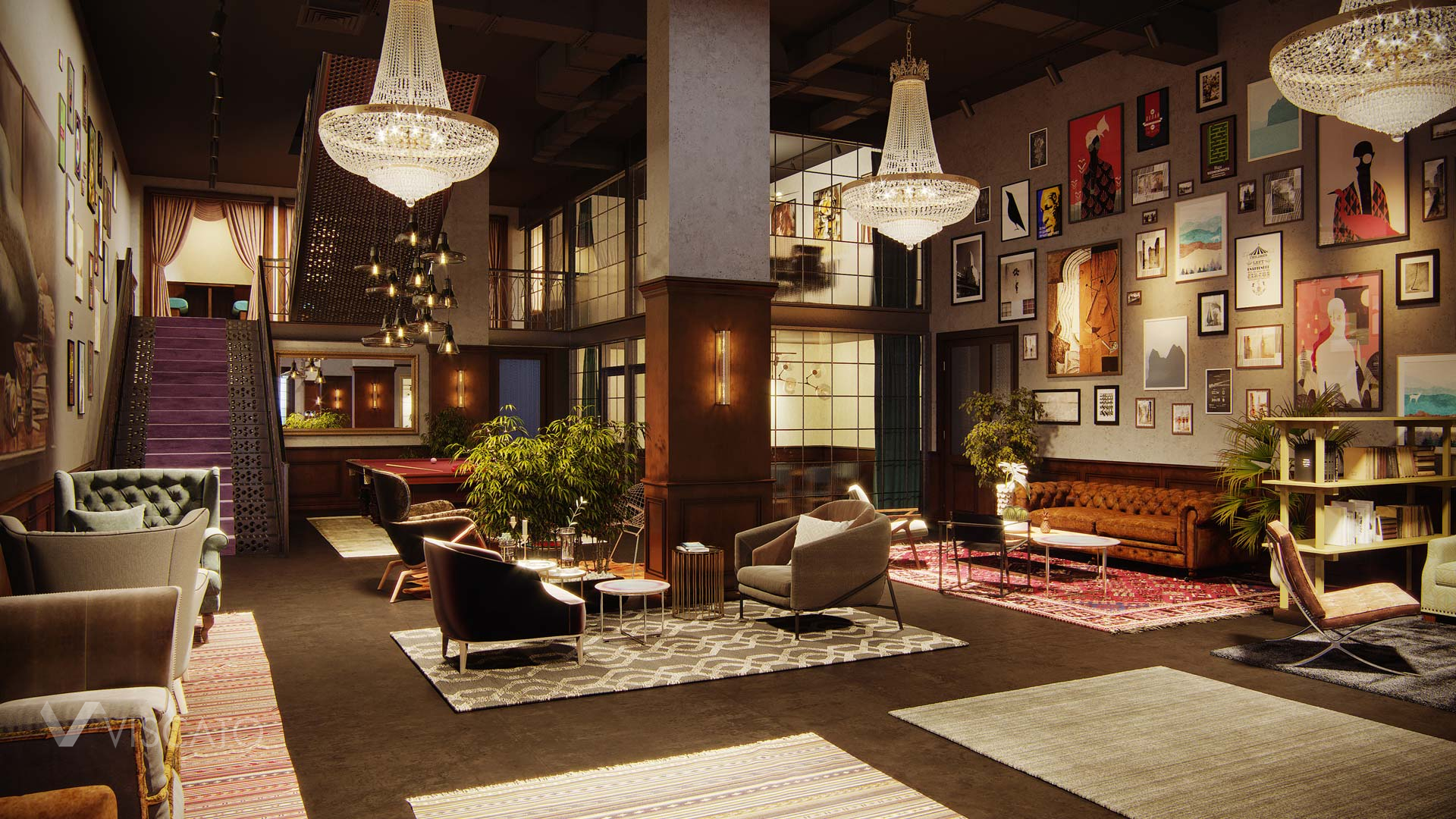 3D visualization of a business club in Atlanta, Viscato