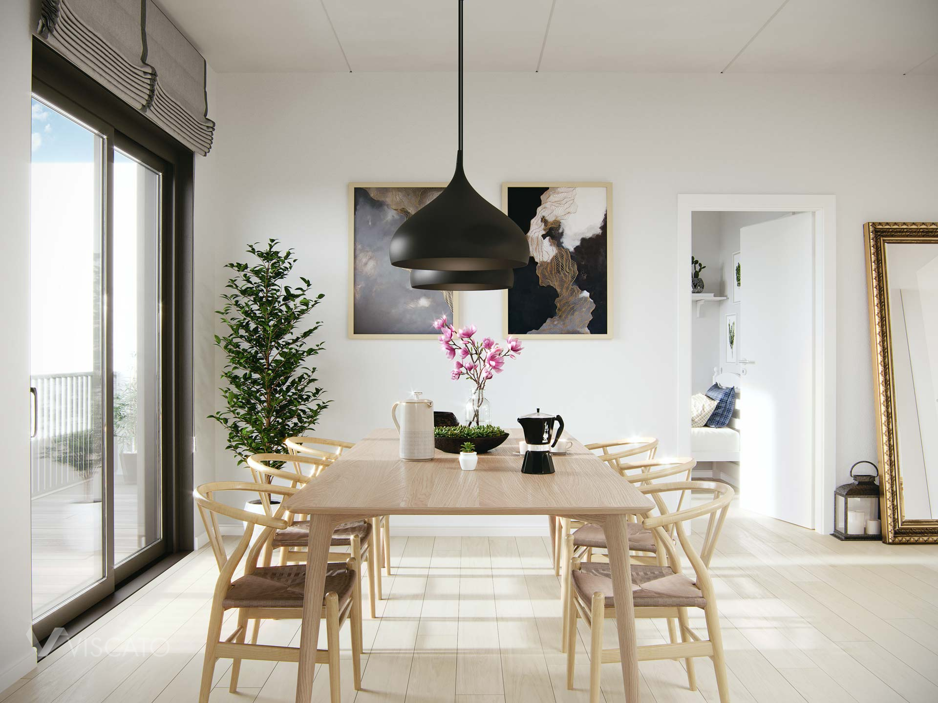 wooden table in a dining rooom, Viscato 3D
