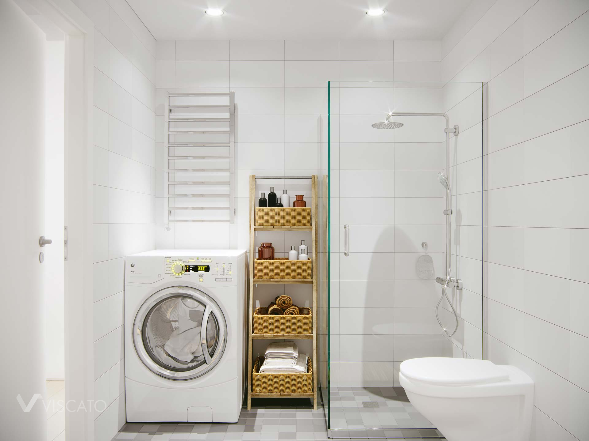 white bathroom with shower, 3D visualizations