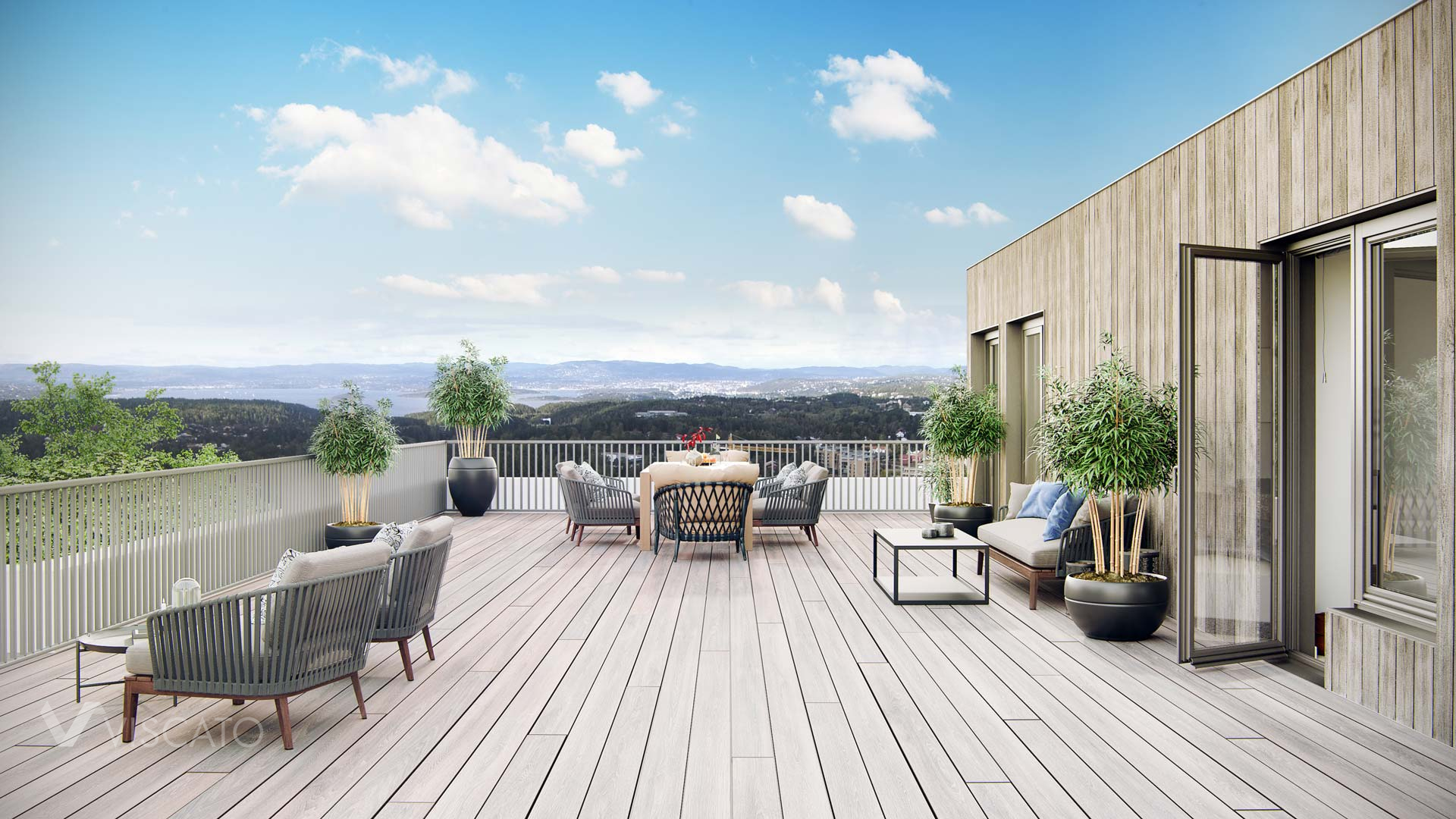 terrace in a new Investment in Norway, 3D Viscato