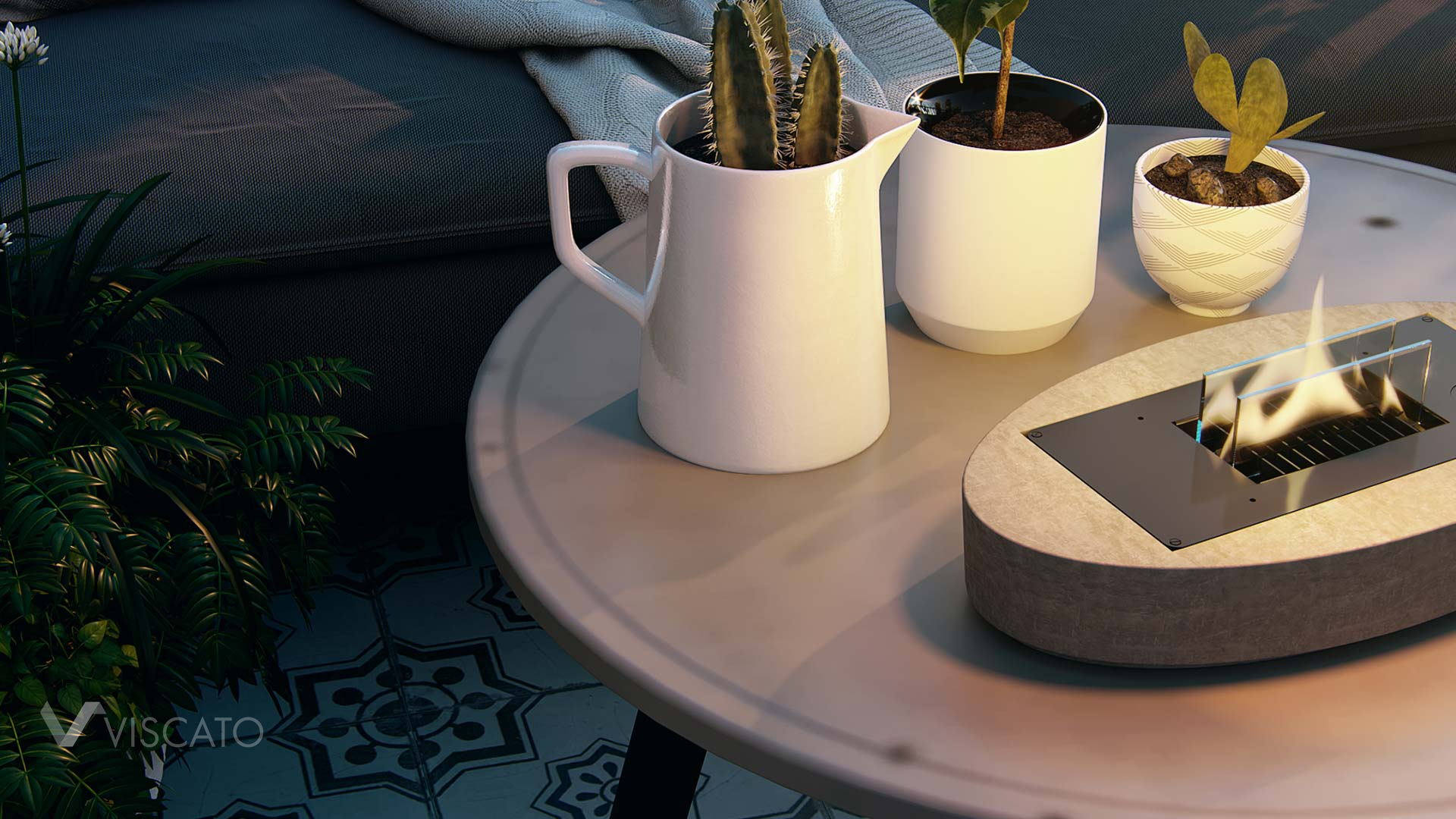 table with a burner, Viscato 3D