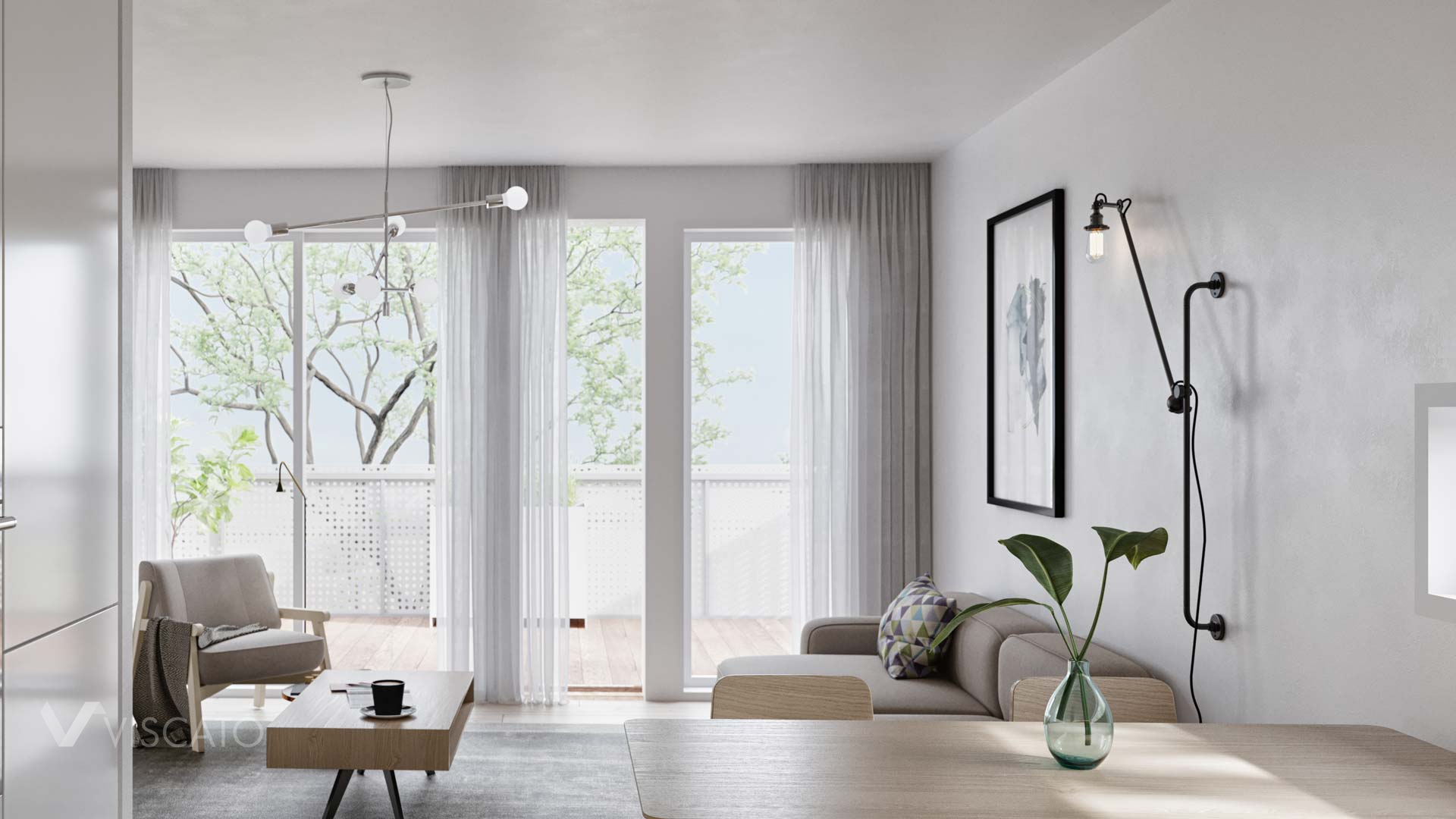 living room with industrial style lamps, Viscato 3D