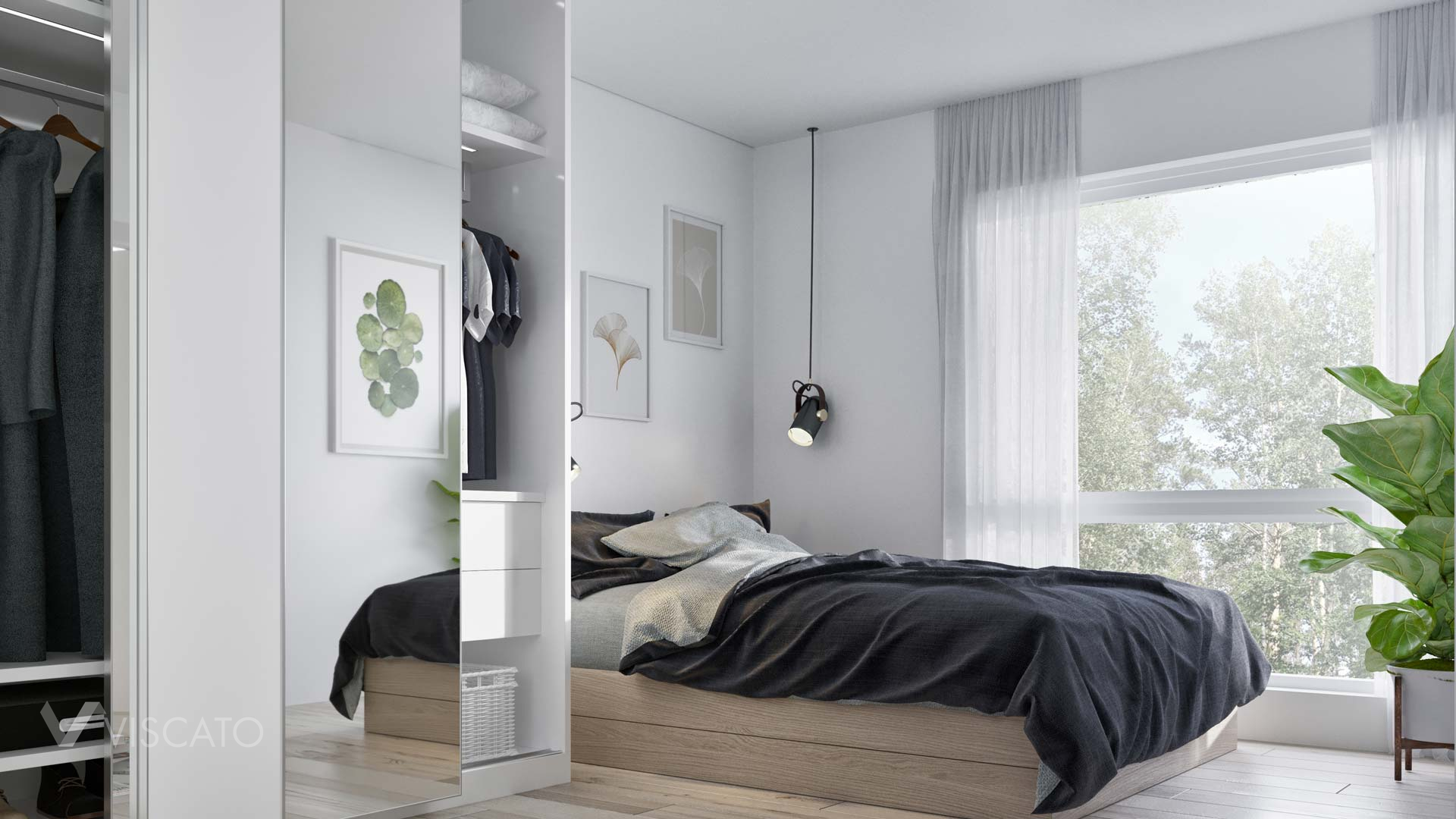 bedroom with large build in wardrobe, Viscato 3D