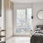 1-person bedroom with white walls, 3D Viscato