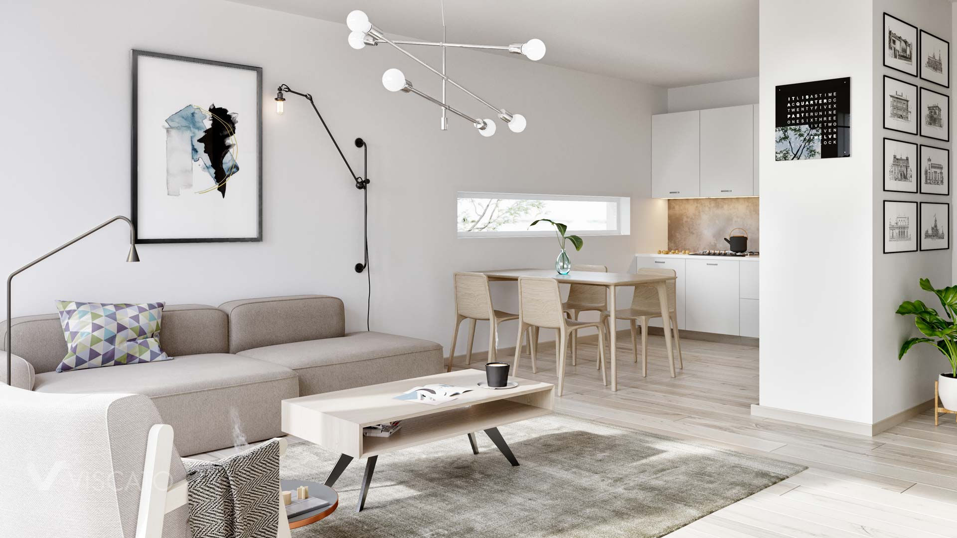 Scandinavian style living room with a kitchenette, Viscato 3D