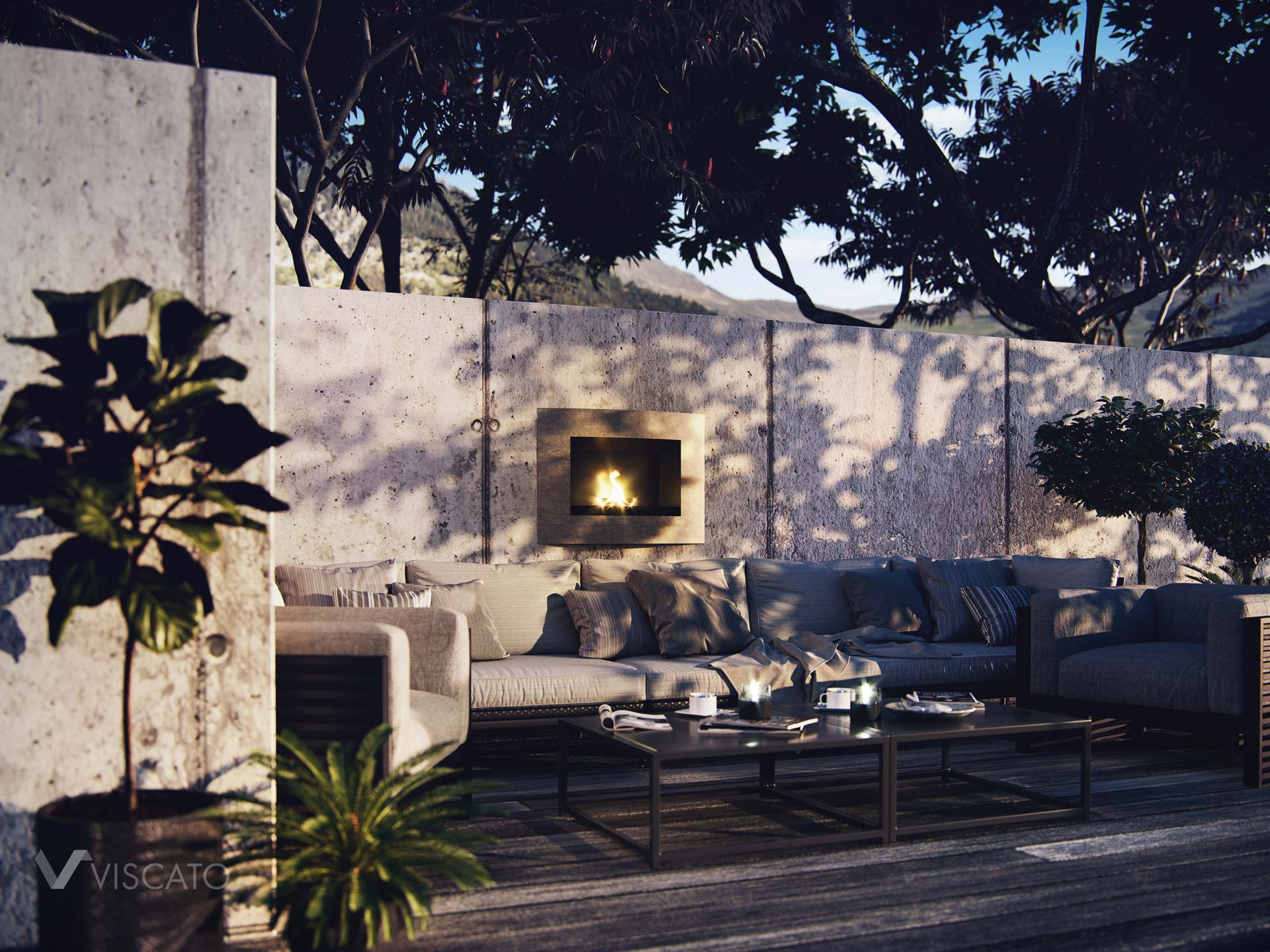 Fireplace placed outside, 3D visualization