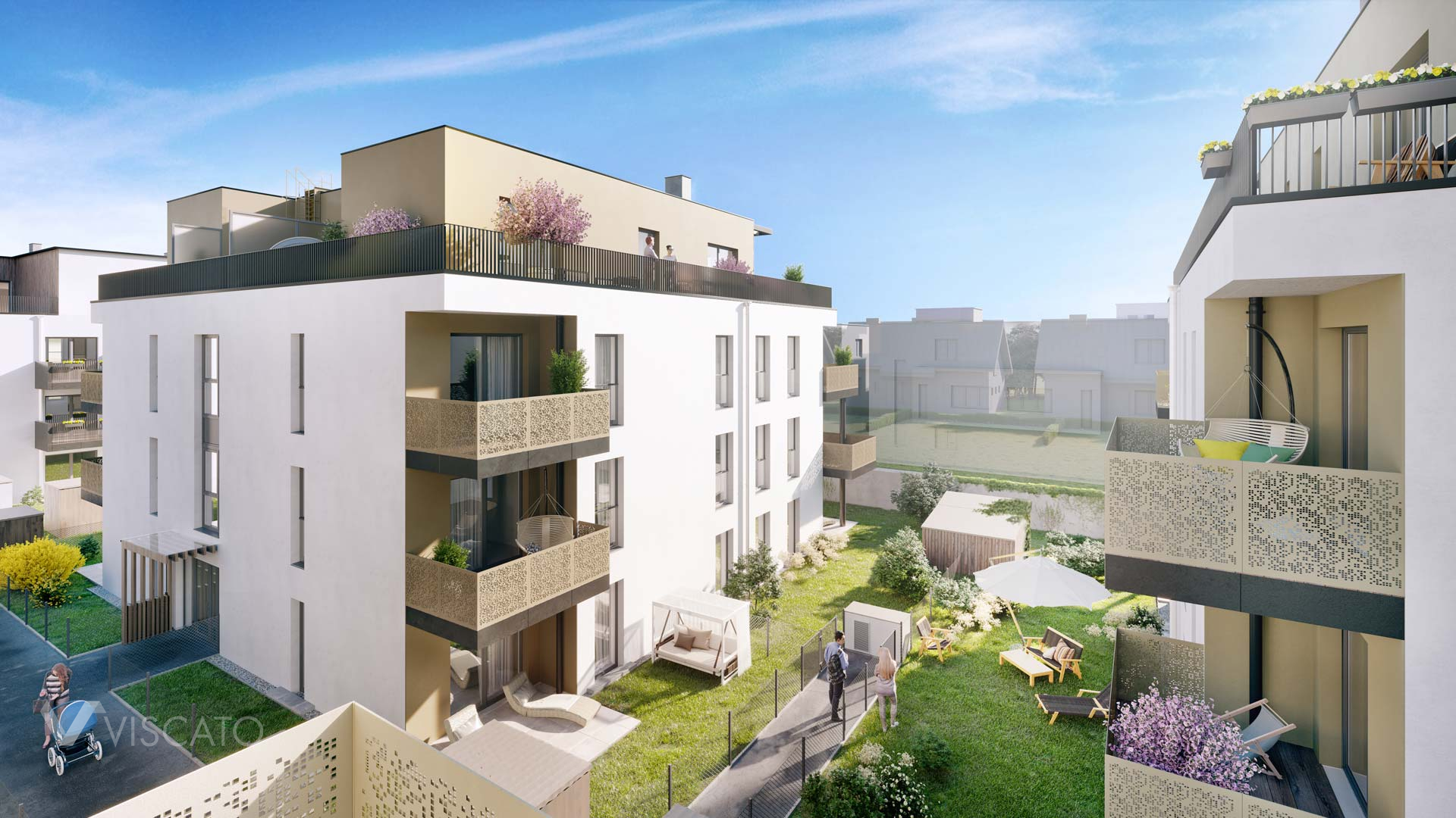 block of flats with balconies and terraces, Viscato 3D