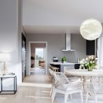 Scandinavian living room with white furniture, 3d render