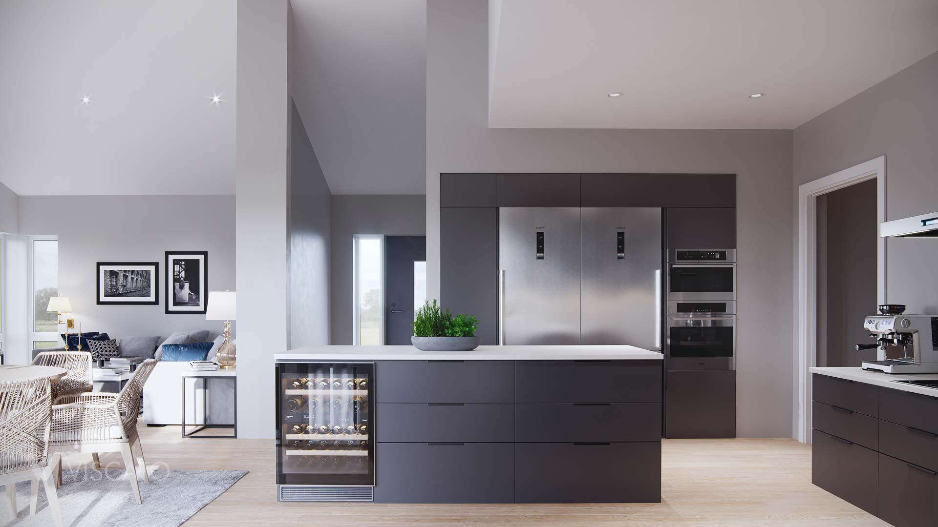 kitchen with two fridges, 3d visualizations