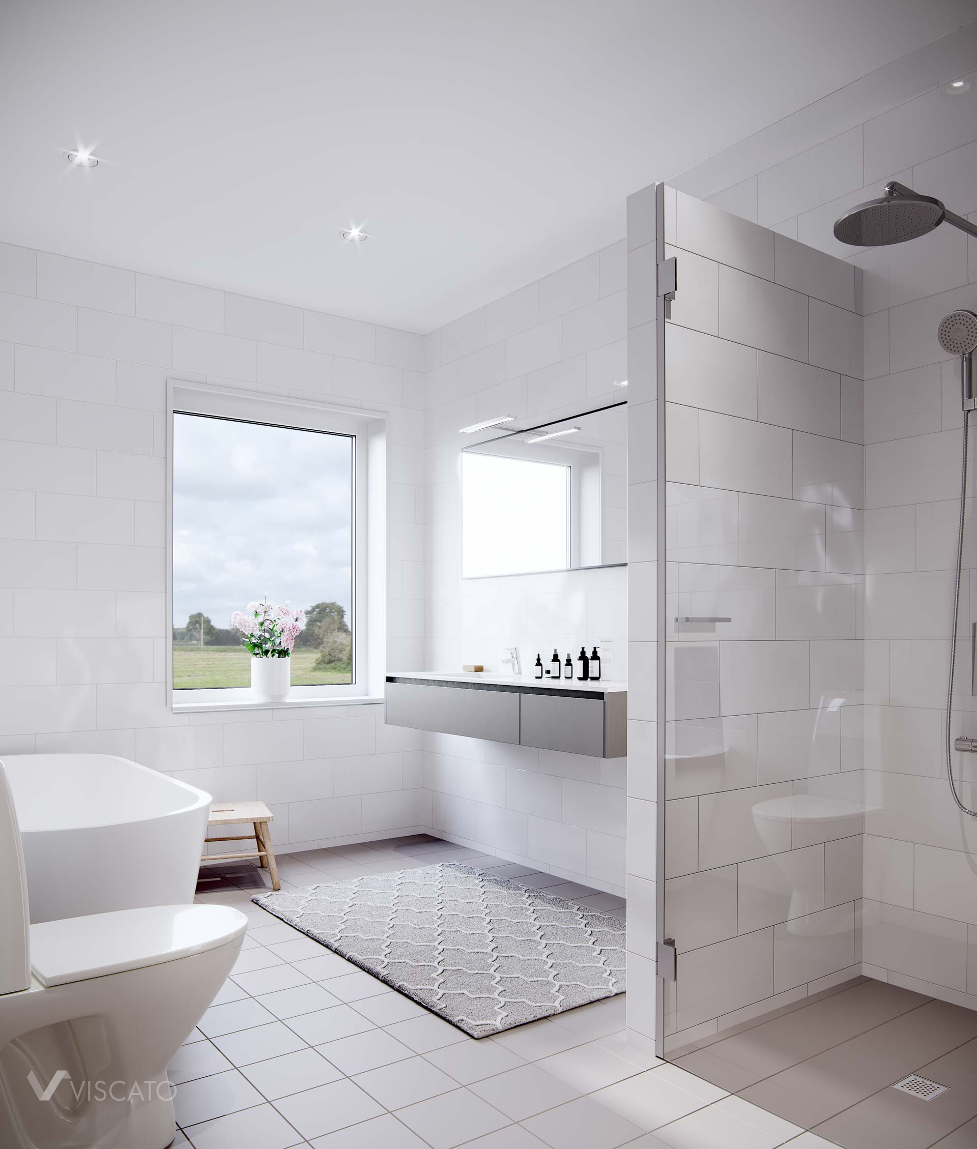 bathroom with white tiles, Viscato 3D