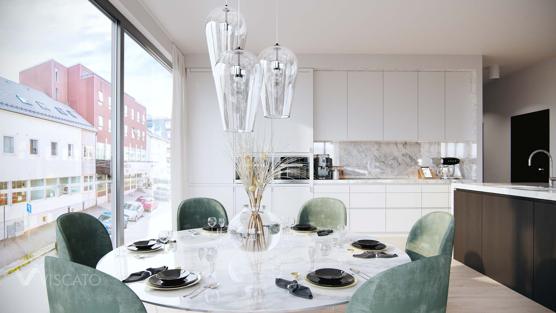 Large round table with transparent lamps, 3D interiors
