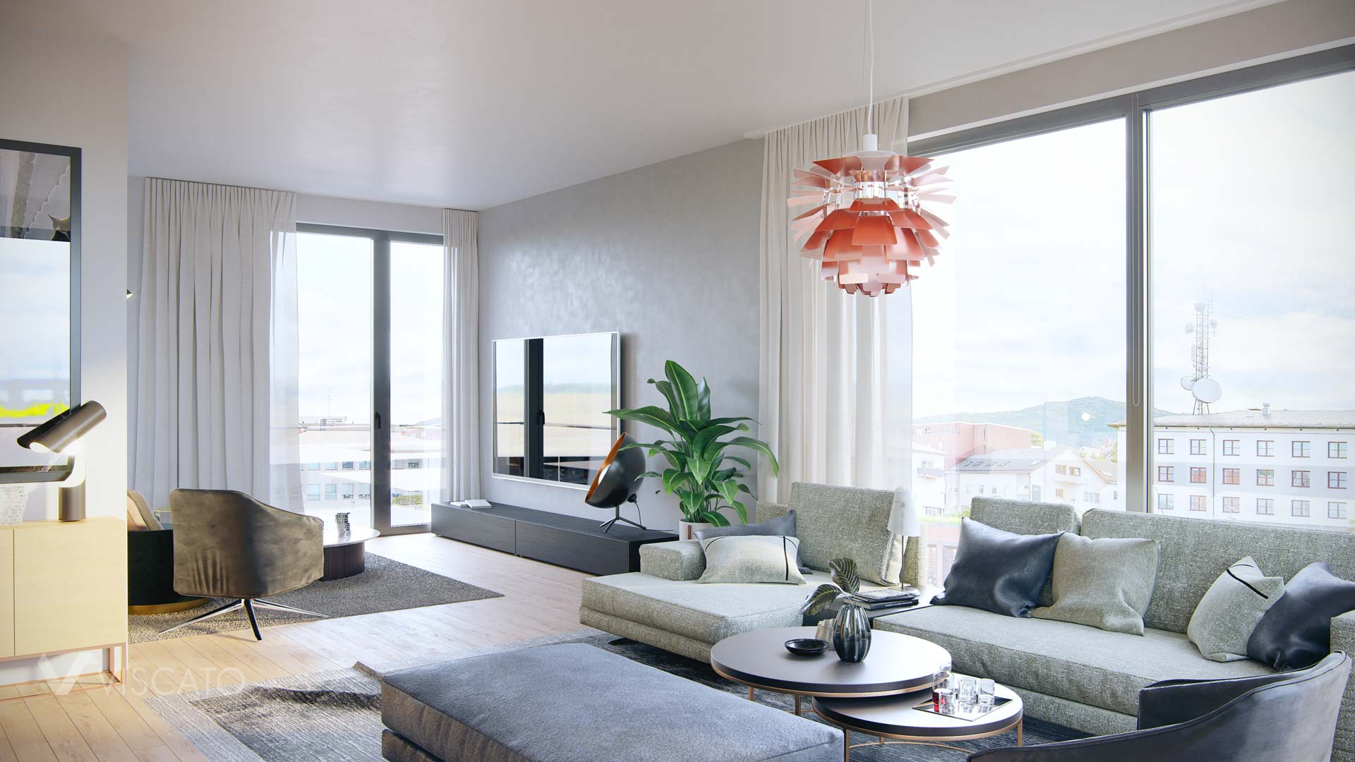 living room with large windows, Viscato 3D