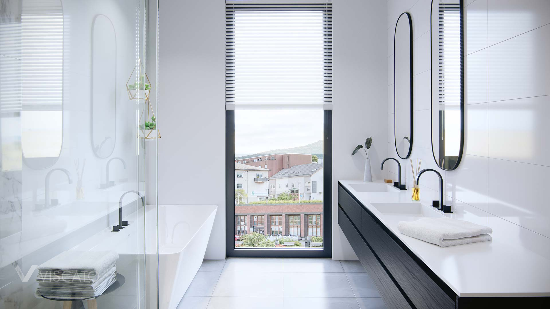 white bathroom with big window, Viscato 3D