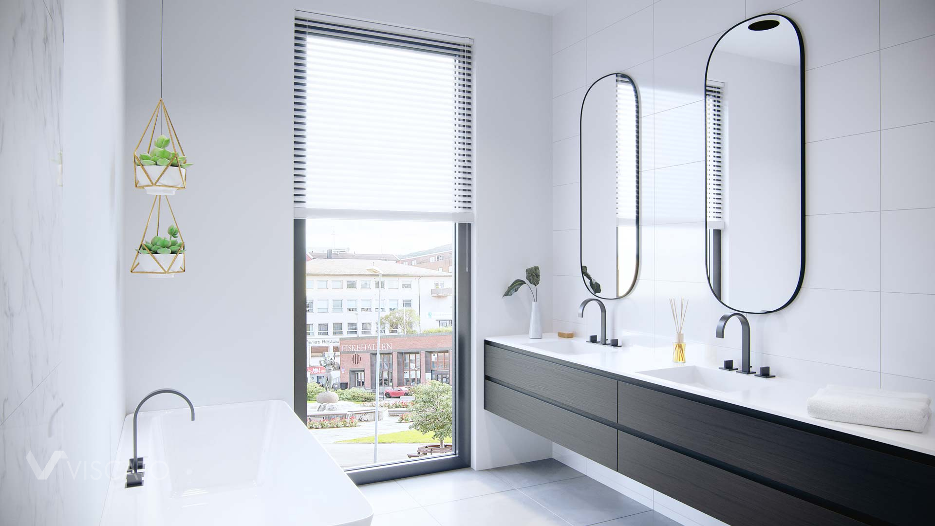 white bathroom with two mirrors, Viscato 3D