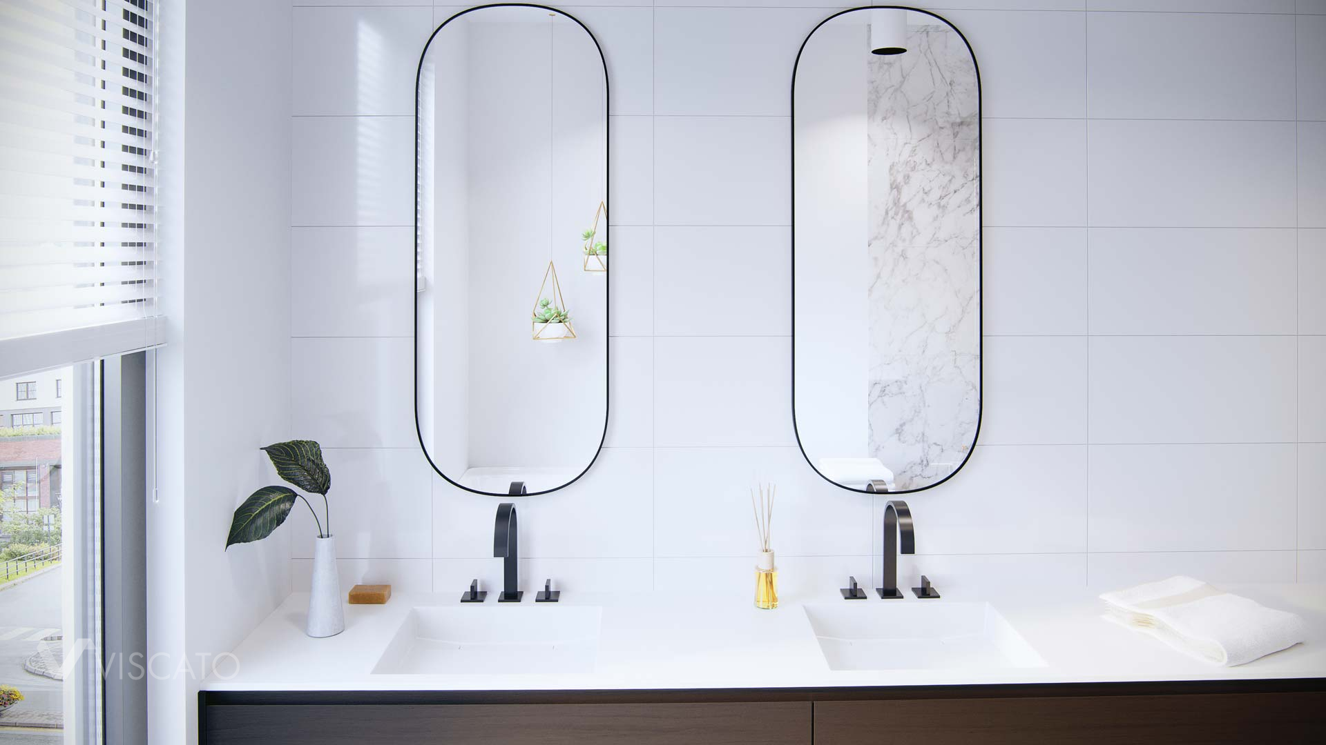 Big mirrors in the bathroom, 3D interior visualizations
