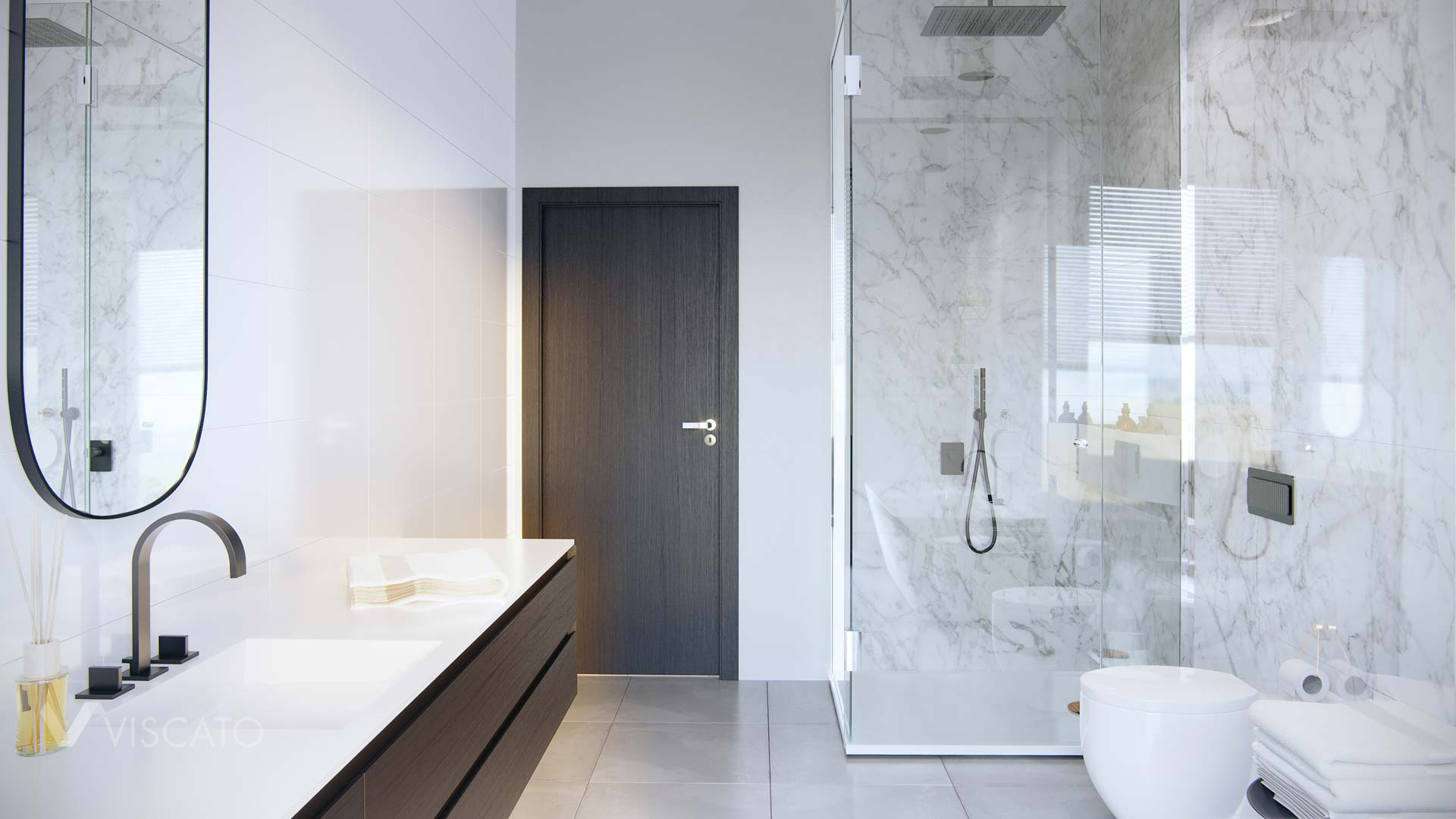 Bathroom with marble tiles, 3D viscato