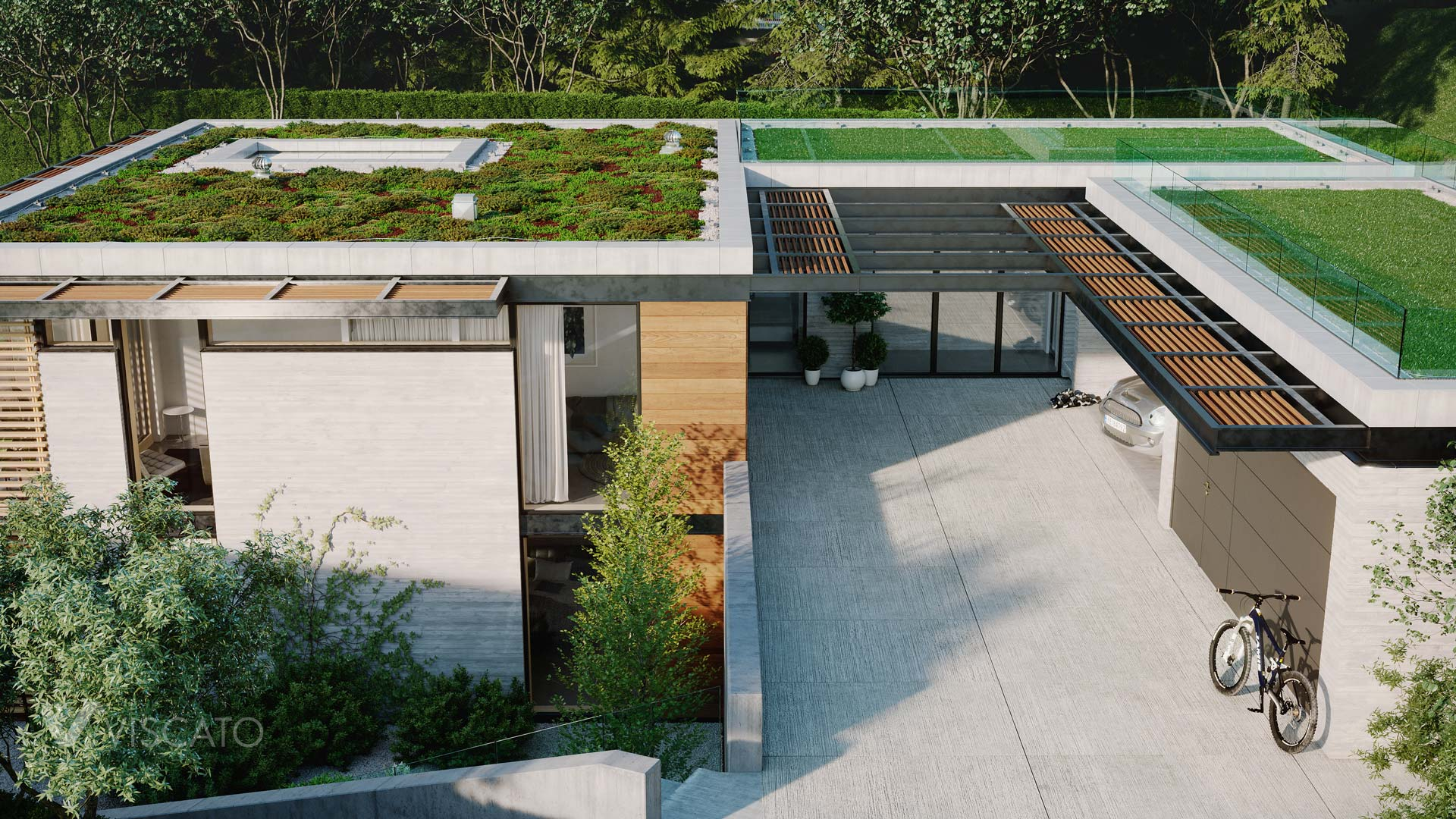 grass on the roof, 3D visualization