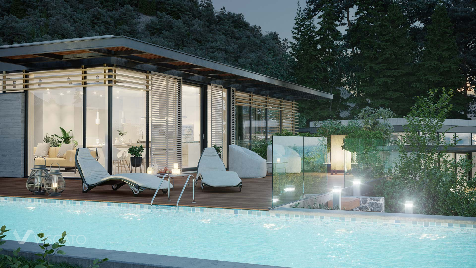 terrace and swimming pool, Viscato 3D