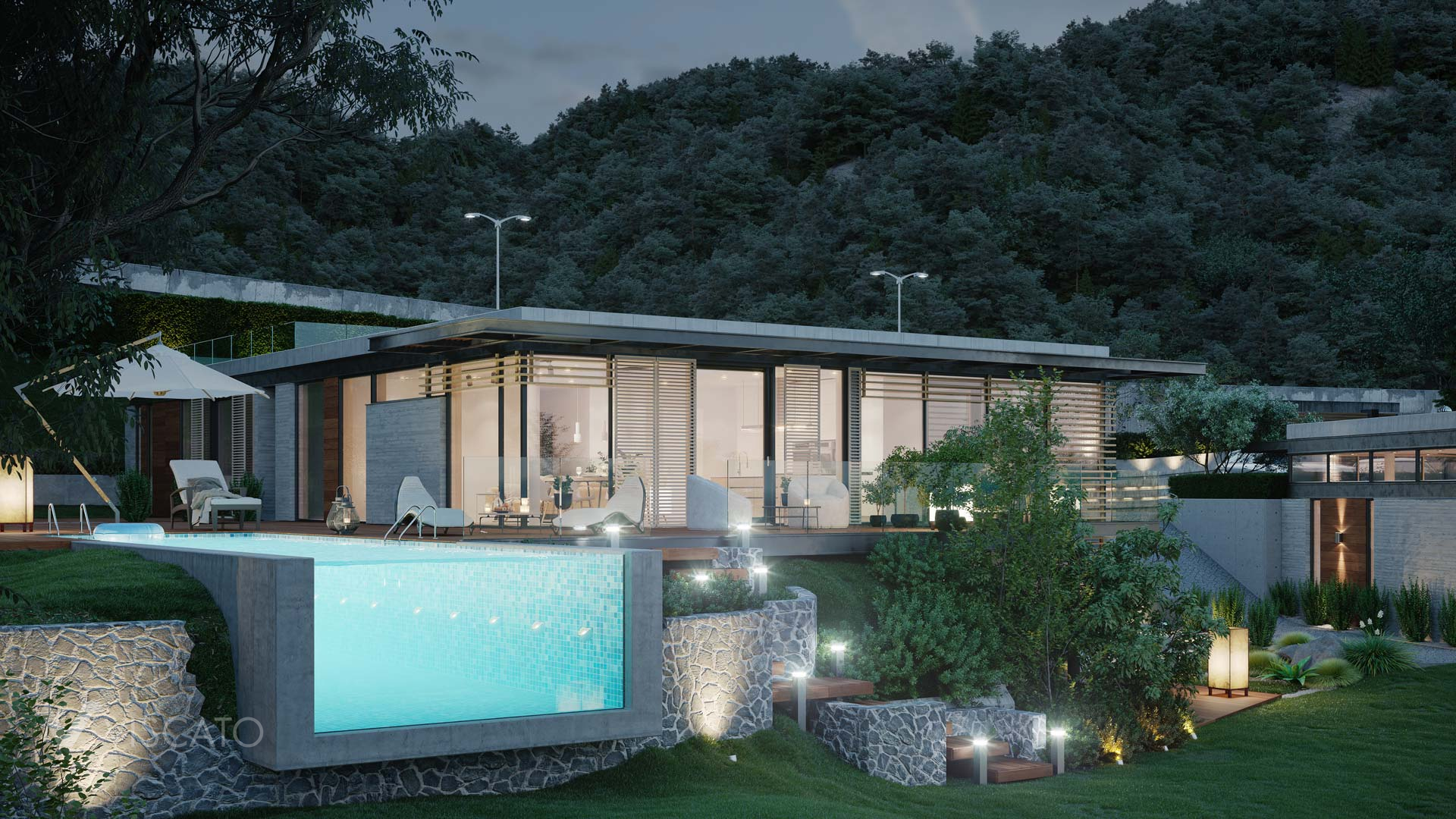 house with a swimming pool at night, 3D visualization