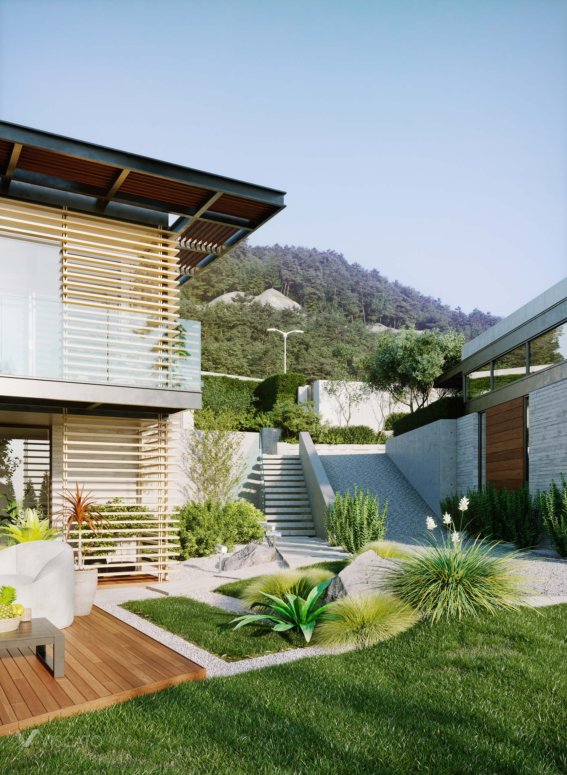 modern house in the mountains, 3D