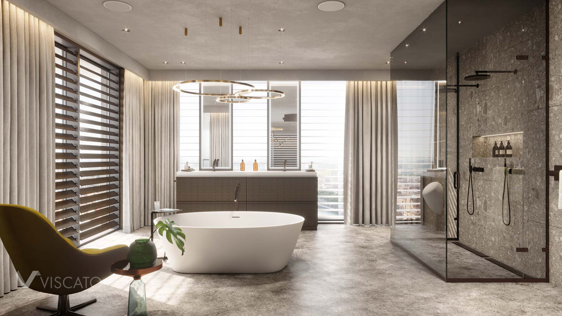 bathroom with a double shower and a freestanding bathtub in 3D
