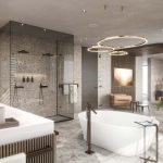 bathroom with a free standing bathtub, Viscato 3D