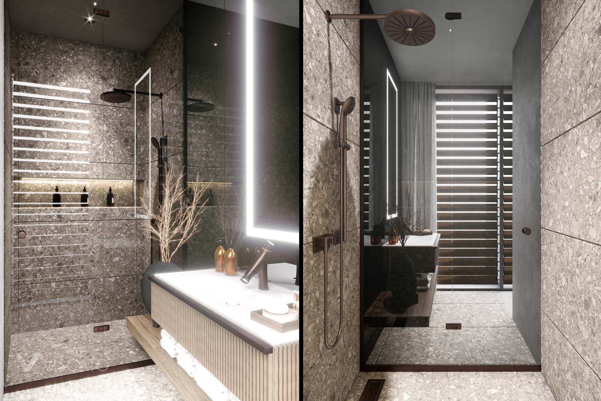 bathroom finished with stone and wood, 3D visualizations