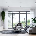 Living room with grey furniture and plants, 3D interior