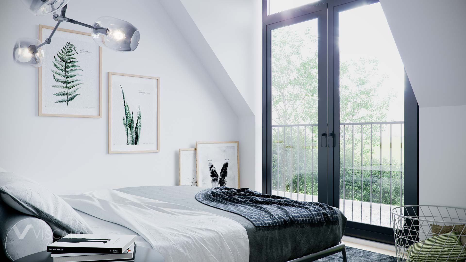 Attic bedroom, 3D visualization