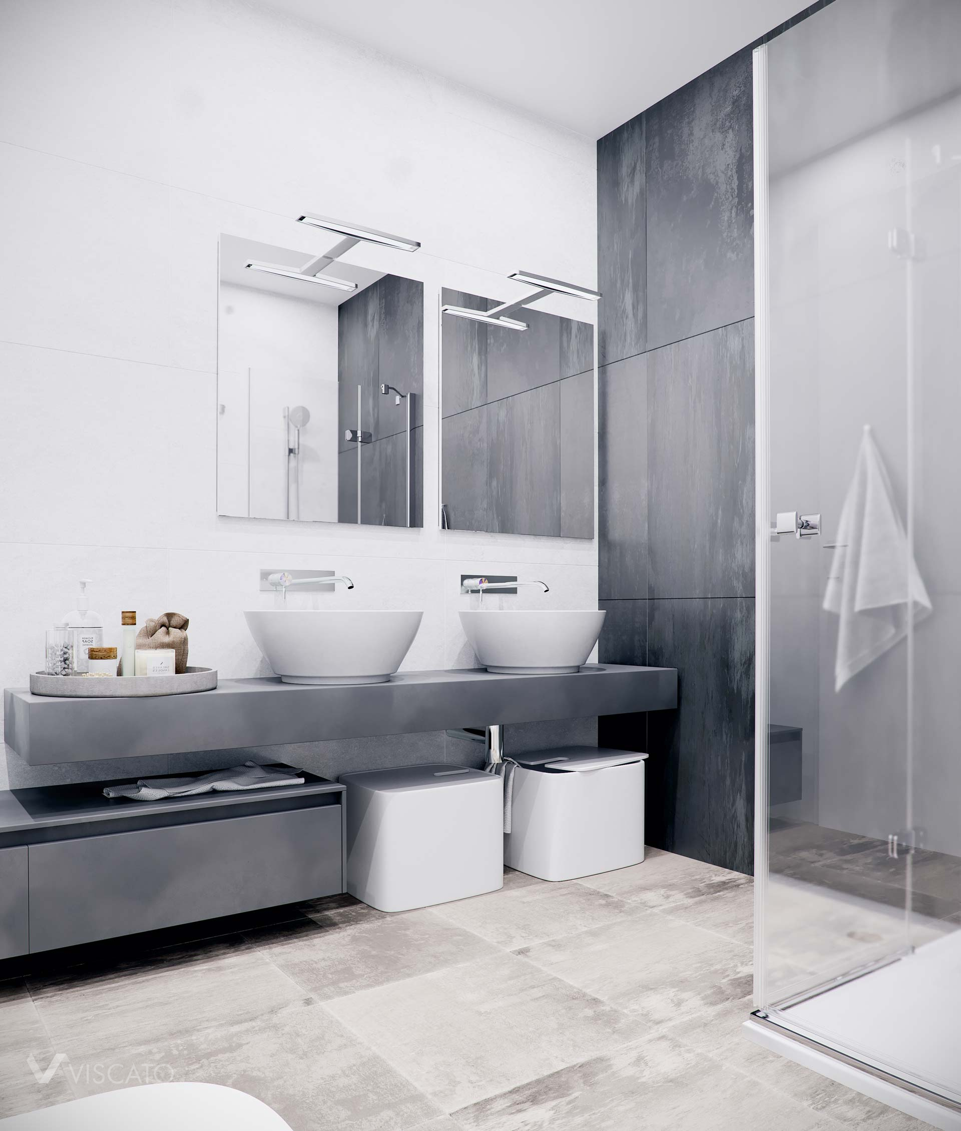bathroom with two washbasins, Viscato 3D