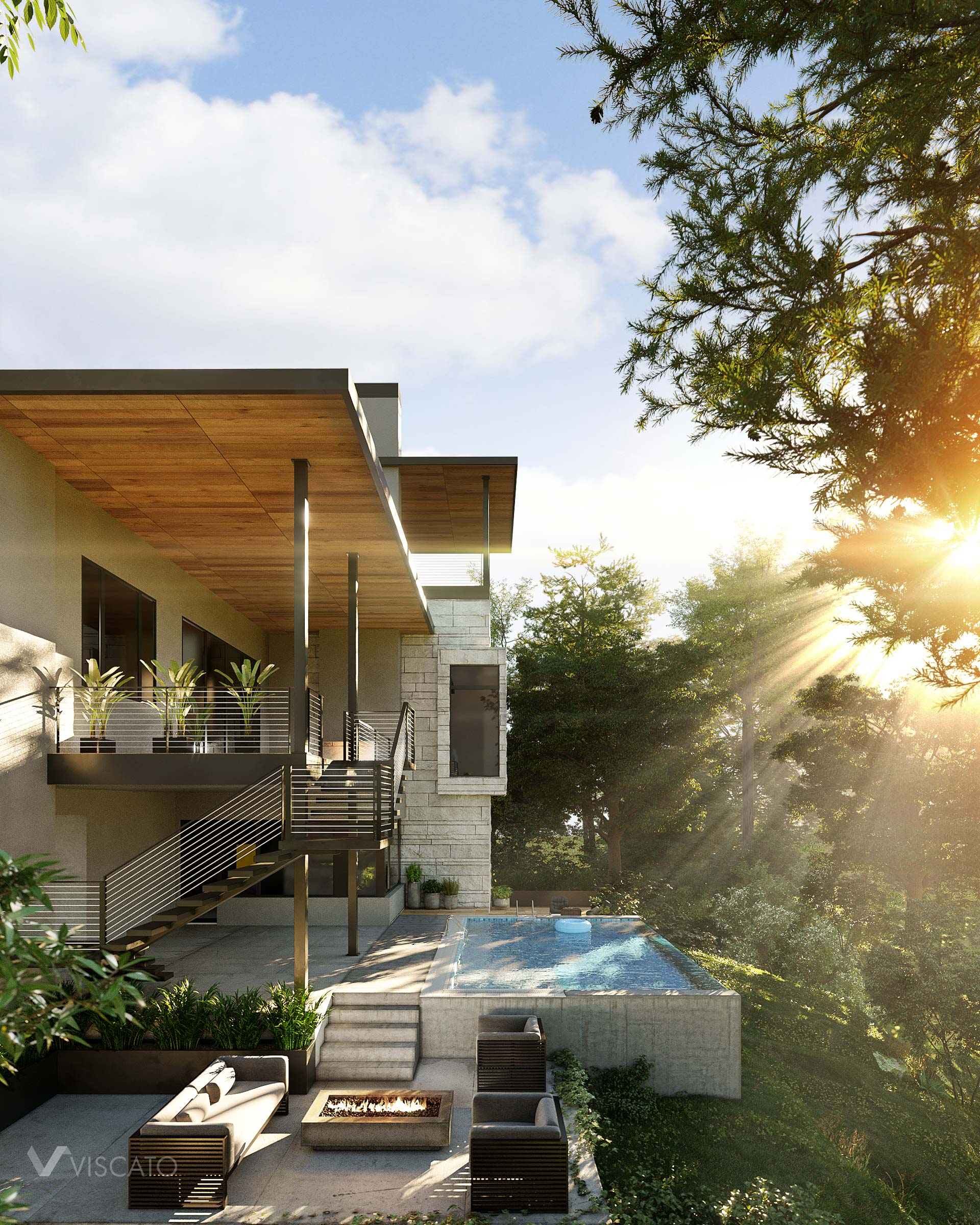 house in 3d- golden hour view
