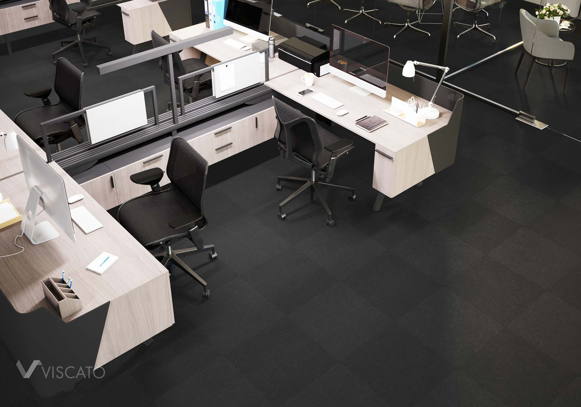 carpet tiles in new office, product in 3D