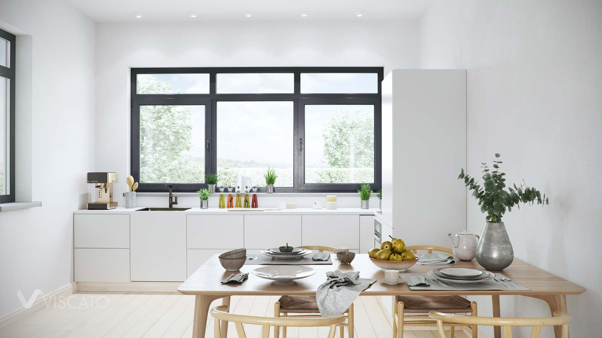 White cabinets in the kitchen, Interior visualization