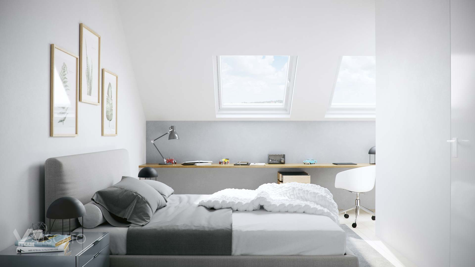 bedroom with office space, 3d interior