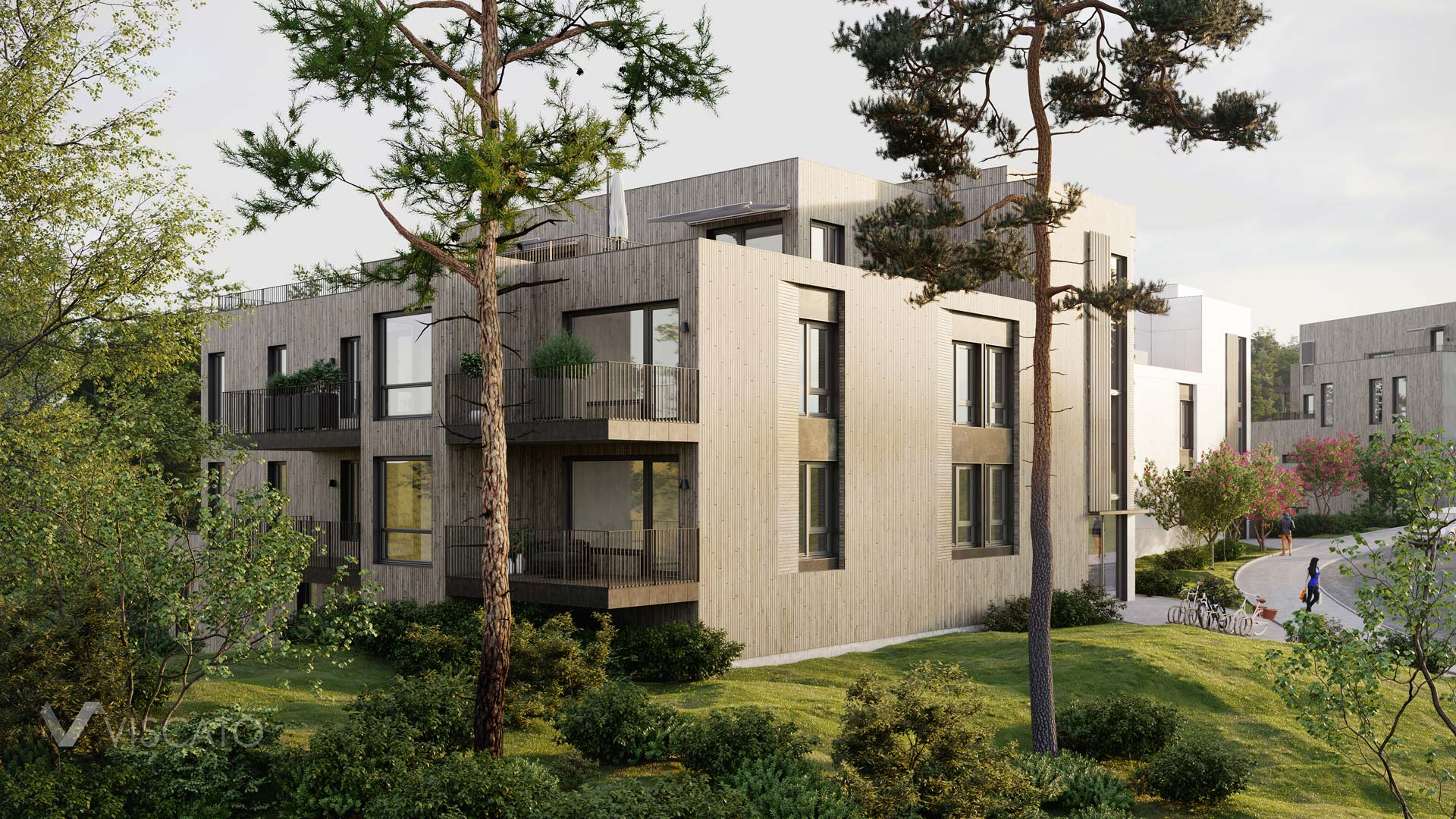 Building with a wooden facade by the forest, Viscato 3D