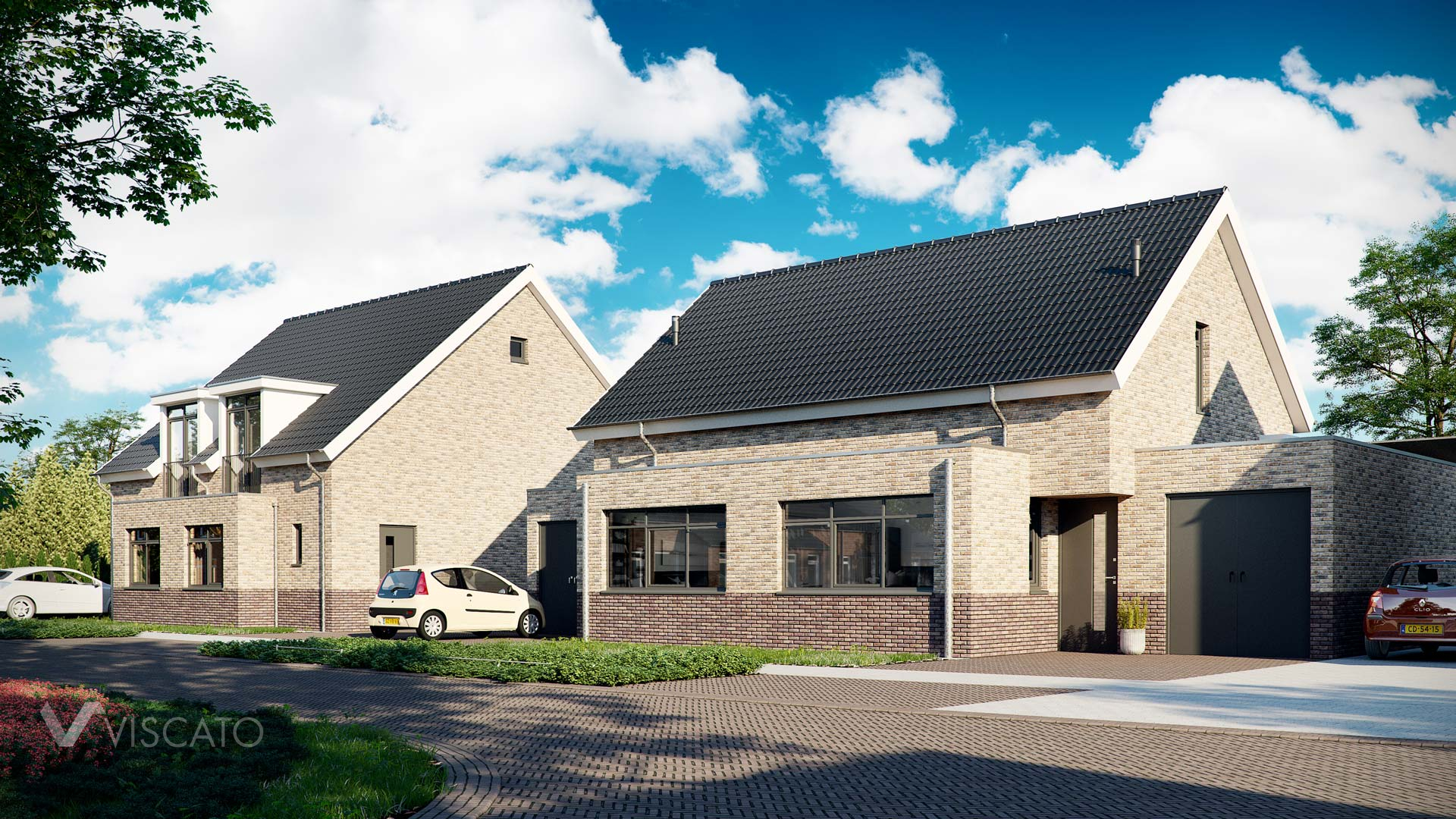 brick elevation houses, 3D architectural rendering