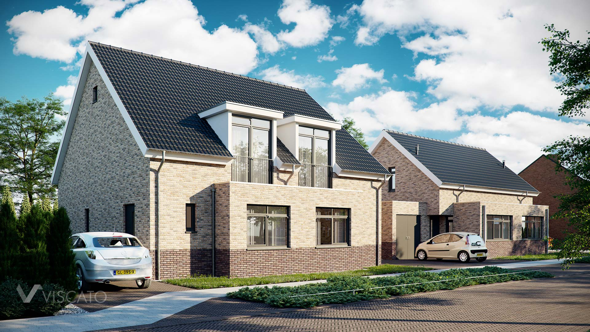 semi-detached buildings with brick facade, 3ds Max