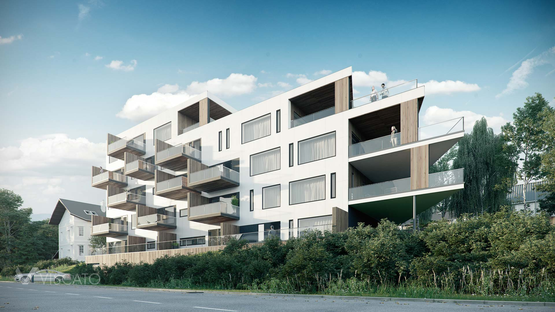 modern block of flats in Narvik, 3ds Max