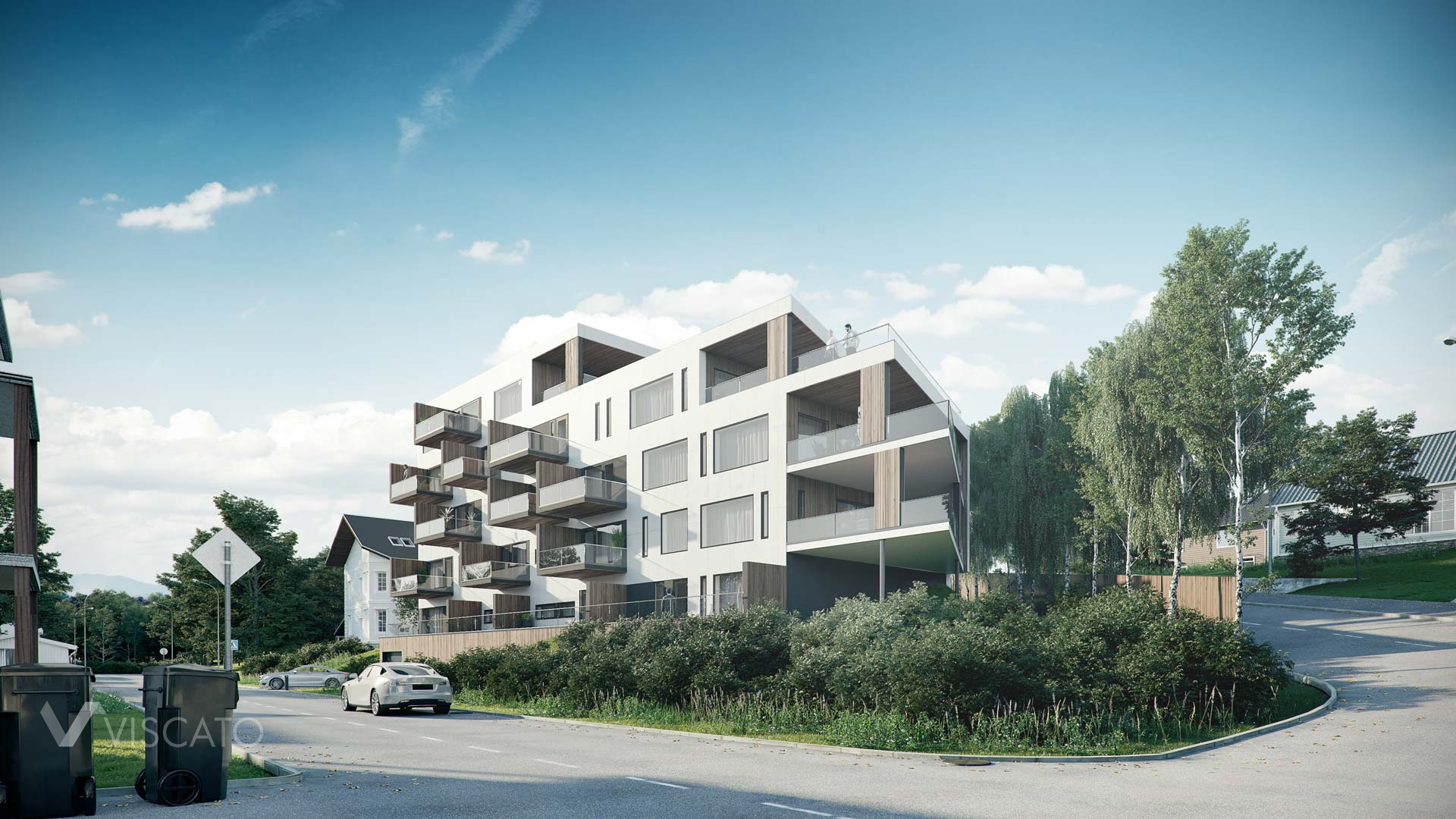Block of flats with terraces, 3D visualization