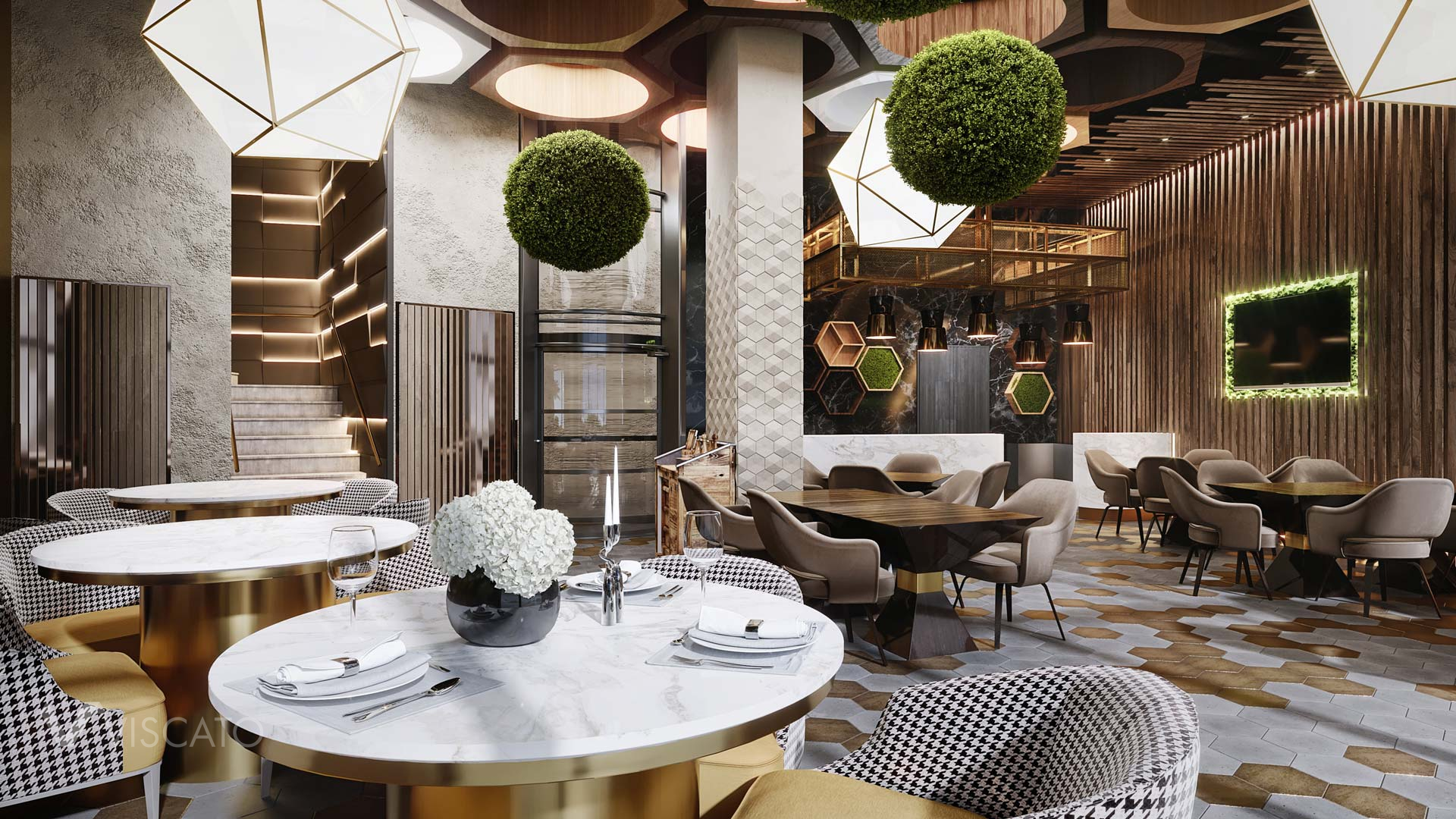 fancy interiors of a modern restaurant, 3d render